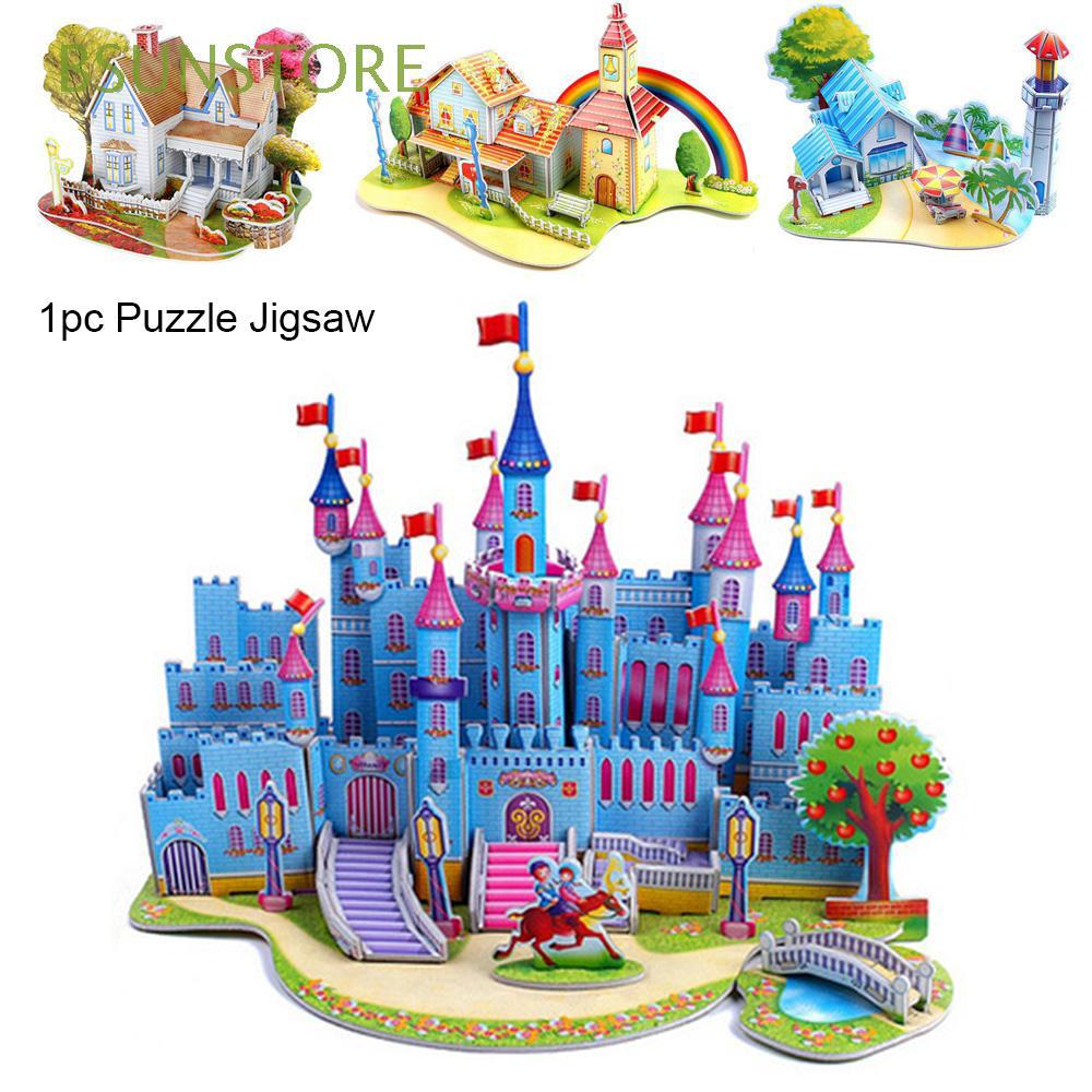 1pc Paper Christmas Intelligence Early learning Construction pattern gift Kids Children 3D DIY Puzzle