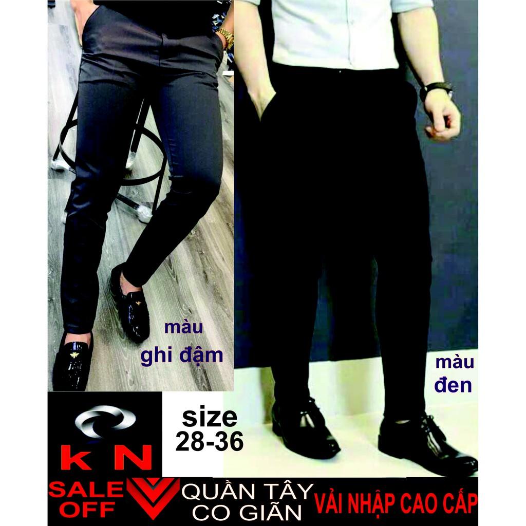 quần tây âu nam 2 màu đen, ghi đậm công sở cao cấp vải mịn co giãn style 2019