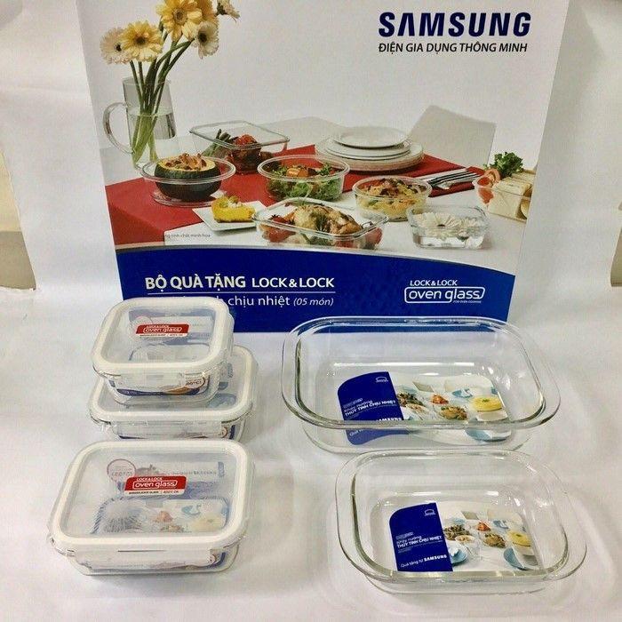 Bộ 5 hộp thủy tinh chịu nhiệt Locknlock Samsung - LLG430S5DA - 3048361 , 1015971375 , 322_1015971375 , 299000 , Bo-5-hop-thuy-tinh-chiu-nhiet-Locknlock-Samsung-LLG430S5DA-322_1015971375 , shopee.vn , Bộ 5 hộp thủy tinh chịu nhiệt Locknlock Samsung - LLG430S5DA