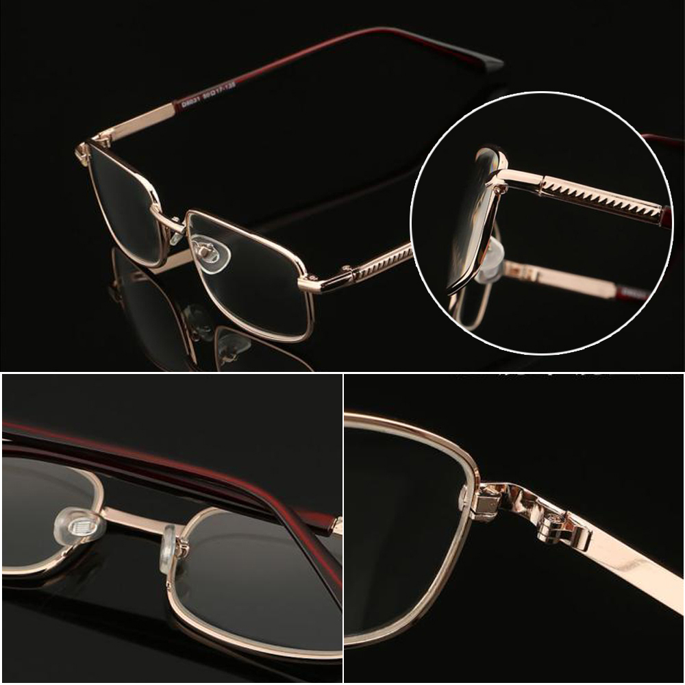 ❤LANSEL❤ Vision Care Reading Glasses Portable Eyeglasses Presbyopic Glasses High-definition Metal Unisex Eyewear PC Frames