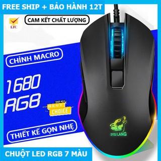 Chuột gaming V1 LED 7 màu tương thích máy tính laptop pc, mouse chơi game siêu đẹp kết nối cổng usb, có cục chống nhiễu