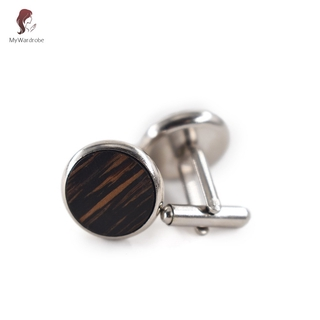 ETXK 1 Pair Trendy Round Walnut Wood Cufflinks Blank Cuffs Men Shirt Accessories Gifts