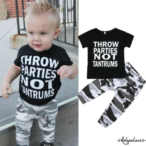 ➹-Baby Boys Short Sleeve T-Shirt Top+Camouflage Pants Trousers 2Pcs Outfit Set