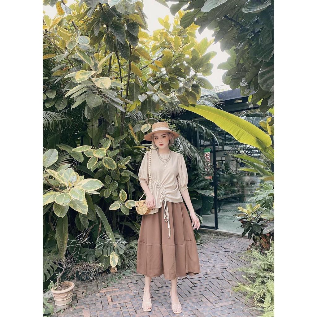 Set Áo Kiểu Dúm Eo Chân Váy Nữ [FREESHIP] 🌸 Bộ thun trơn áo tay bồng dây nơ kèm đầm xòe thô mềm vintage ulzzang HOT 🌸