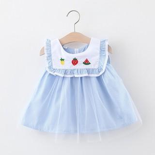 (Hàng mới về) Váy bé gái Đầm bé gái Váy bé gái thêu hình hoa quả cực xinh D599
