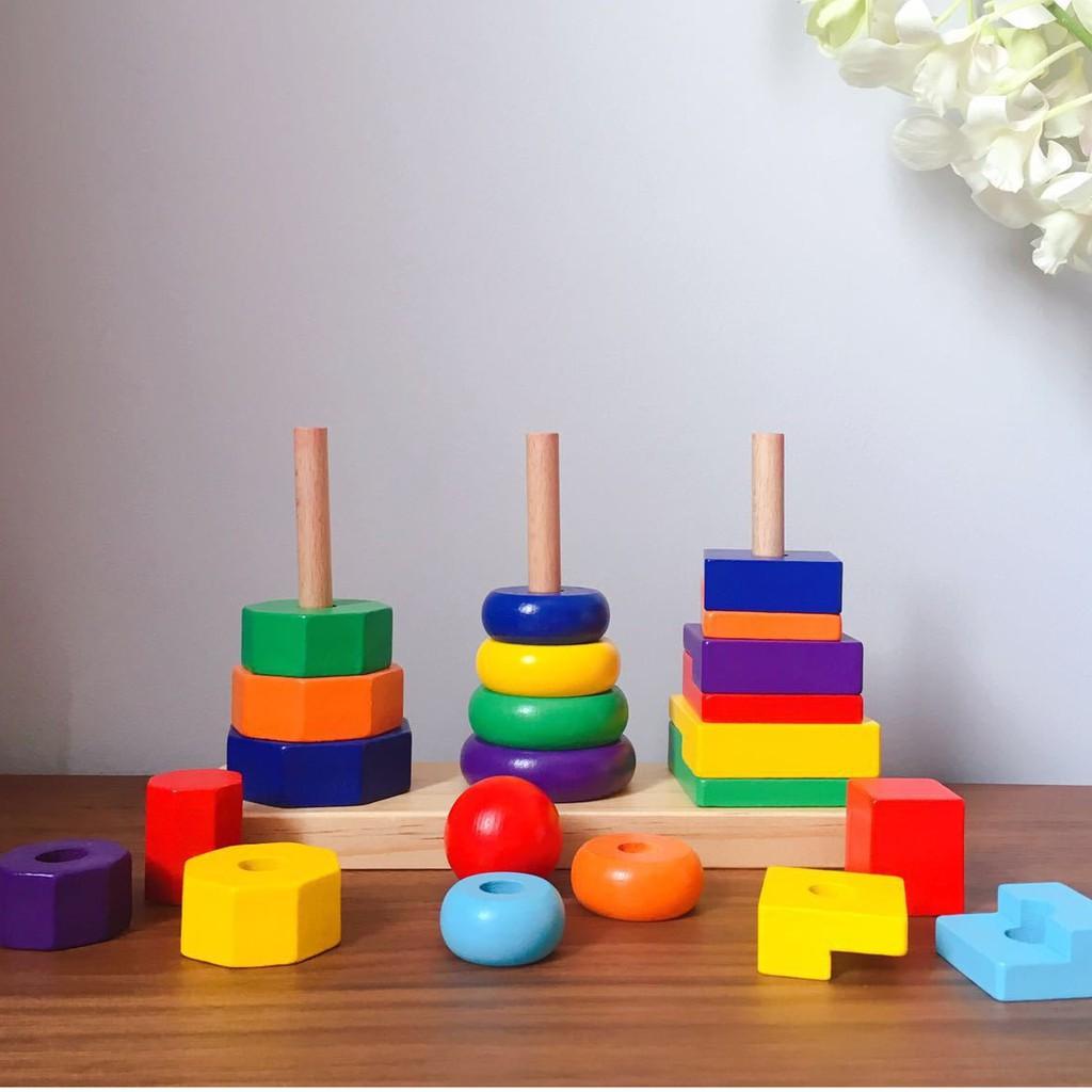 Đồ chơi trẻ em thông minh – Thả hình khối ba trụ Montessori (Size nhỏ).