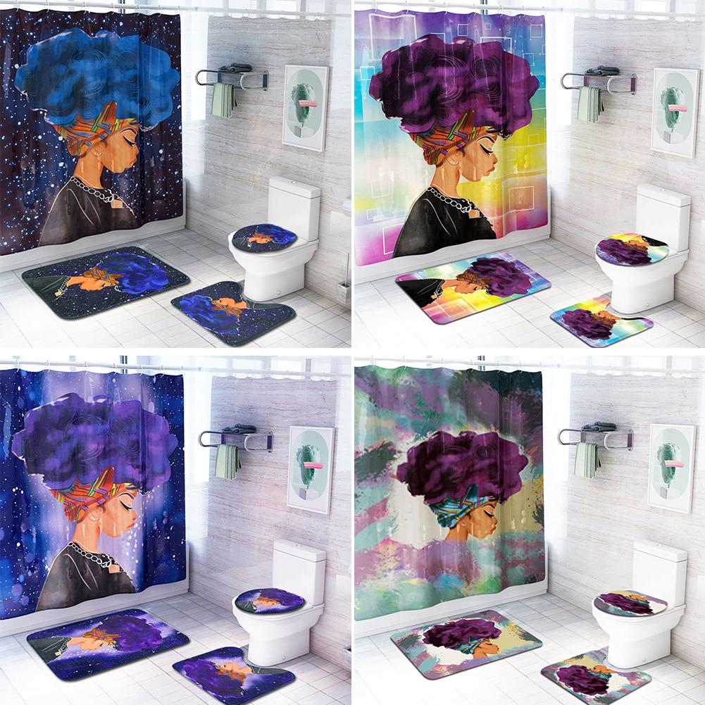 African Women Bathroom Printing Fashion Non Slip Flannel Shower Curtain Set