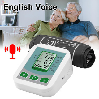 ET Digital Arm Automatic Blood Pressure Monitor & Household Arm Band Type English Voice Sphygmomanometer Accurate Measurement