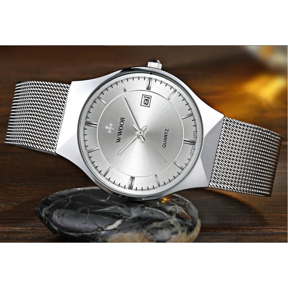 Đồng hồ nam WWOOR dây lưới thép 8016