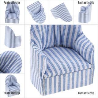 Fantastictrip 1:12 dollhouse miniature furniture stripe sofa chair for bed room living room