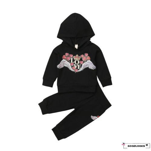 HGL2019 Newest Newborn Baby Girl Floral Rose Hooded Tops Pants 2Pcs Outfit Set Clothes