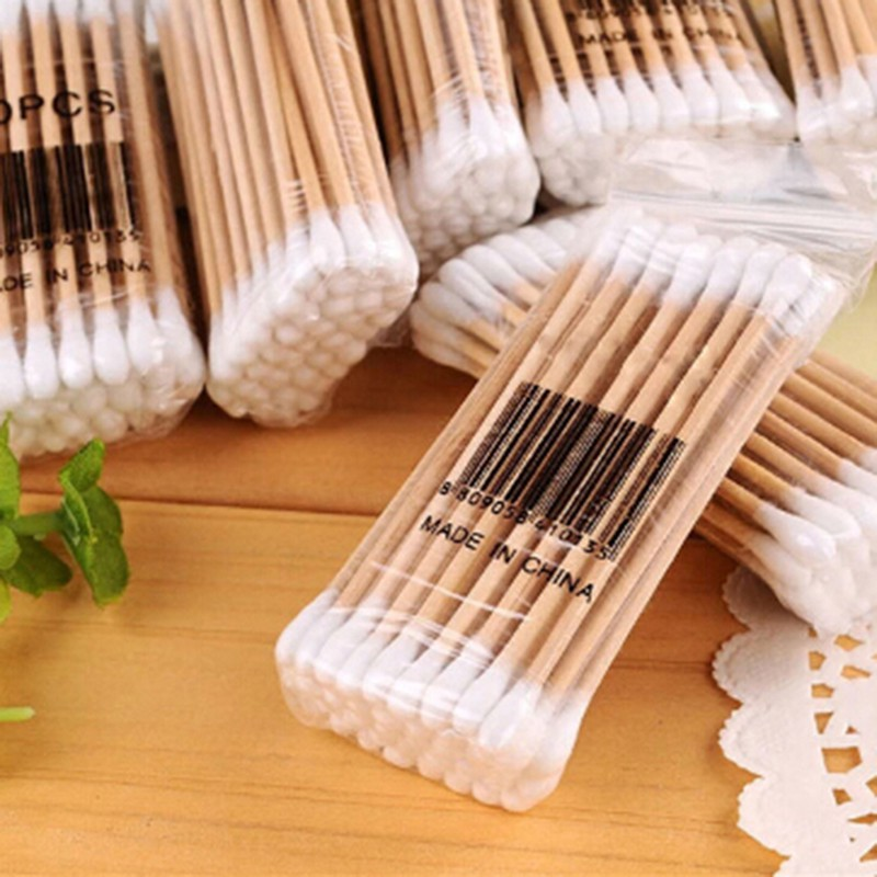 Fahuamaoyi 30~35pcs Makeup Cotton Swab Double Head Cotton Buds Wood Ears Cleaning Tool