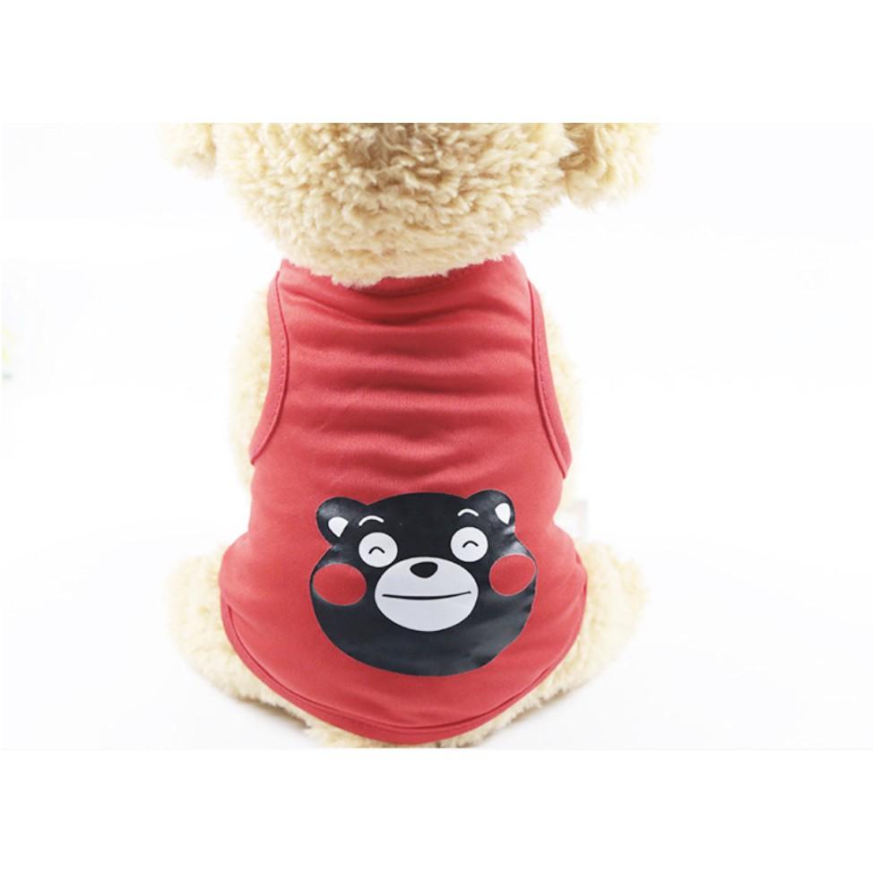 [Mã 267FMCGSALE giảm 8% đơn 500K] Quần áo cho chó mèo màu đỏ hình gấu siêu xinh