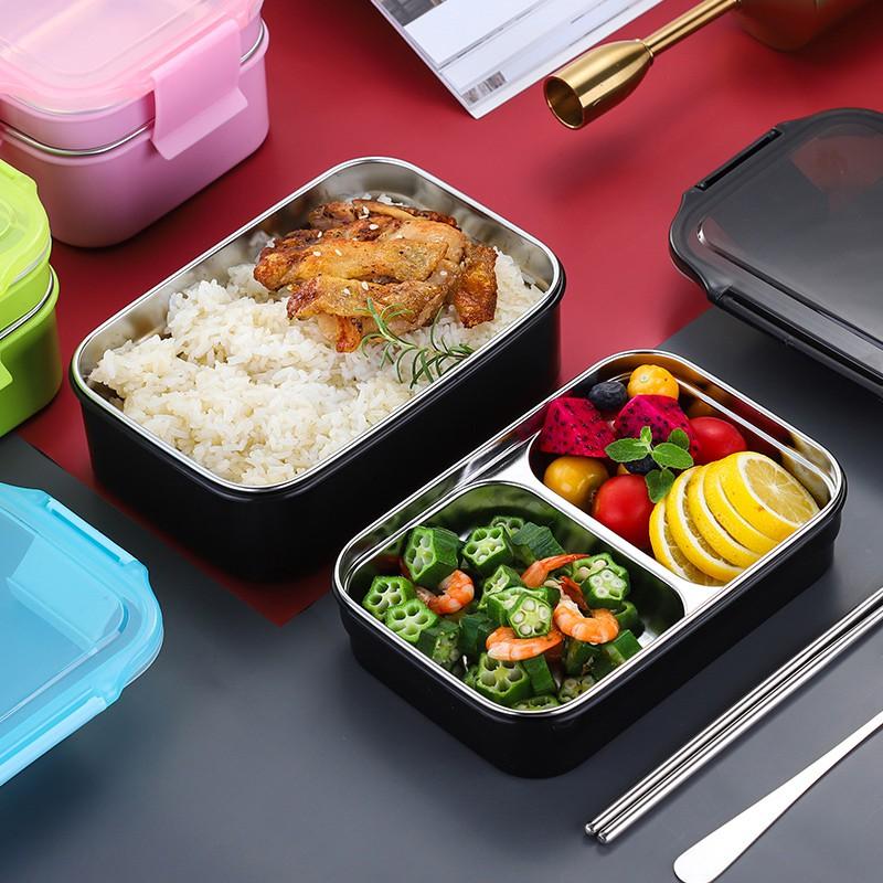 Bộ hộp đựng cơm trưa bằng thép không gỉ 304 1200ml kèm túi tiện dụng cho học sinh/người đi làm