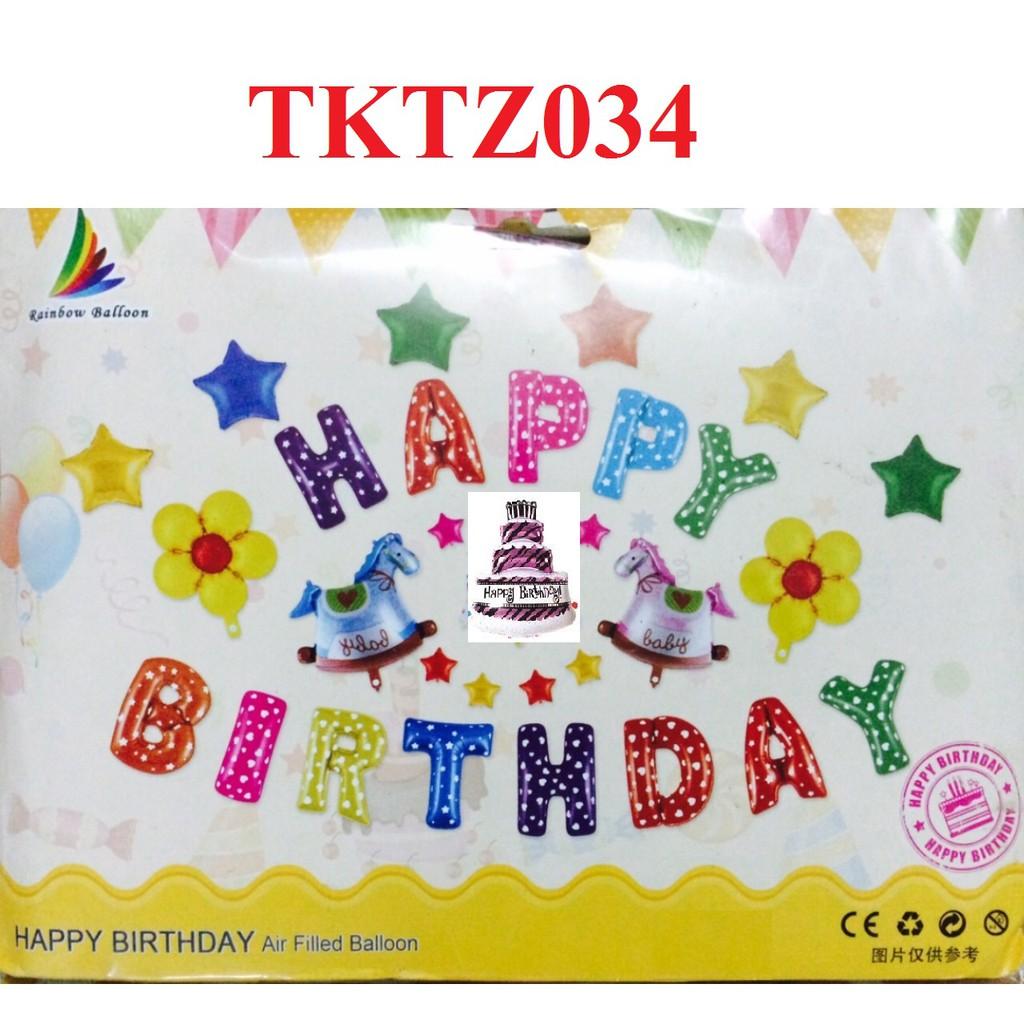 (Kèm bơm+Bóng số+Băng dính) Set TKTZ034 bóng trang trí sinh nhật loại đẹp - 2 chú ngựa - Bóng sinh n
