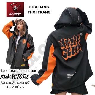 Áo khoác dù in hình HIGHCLUB dành cho nam nữ cho cặp đôi có 3 màu, jacket form rộng phông cách unisex XUKA SHOP