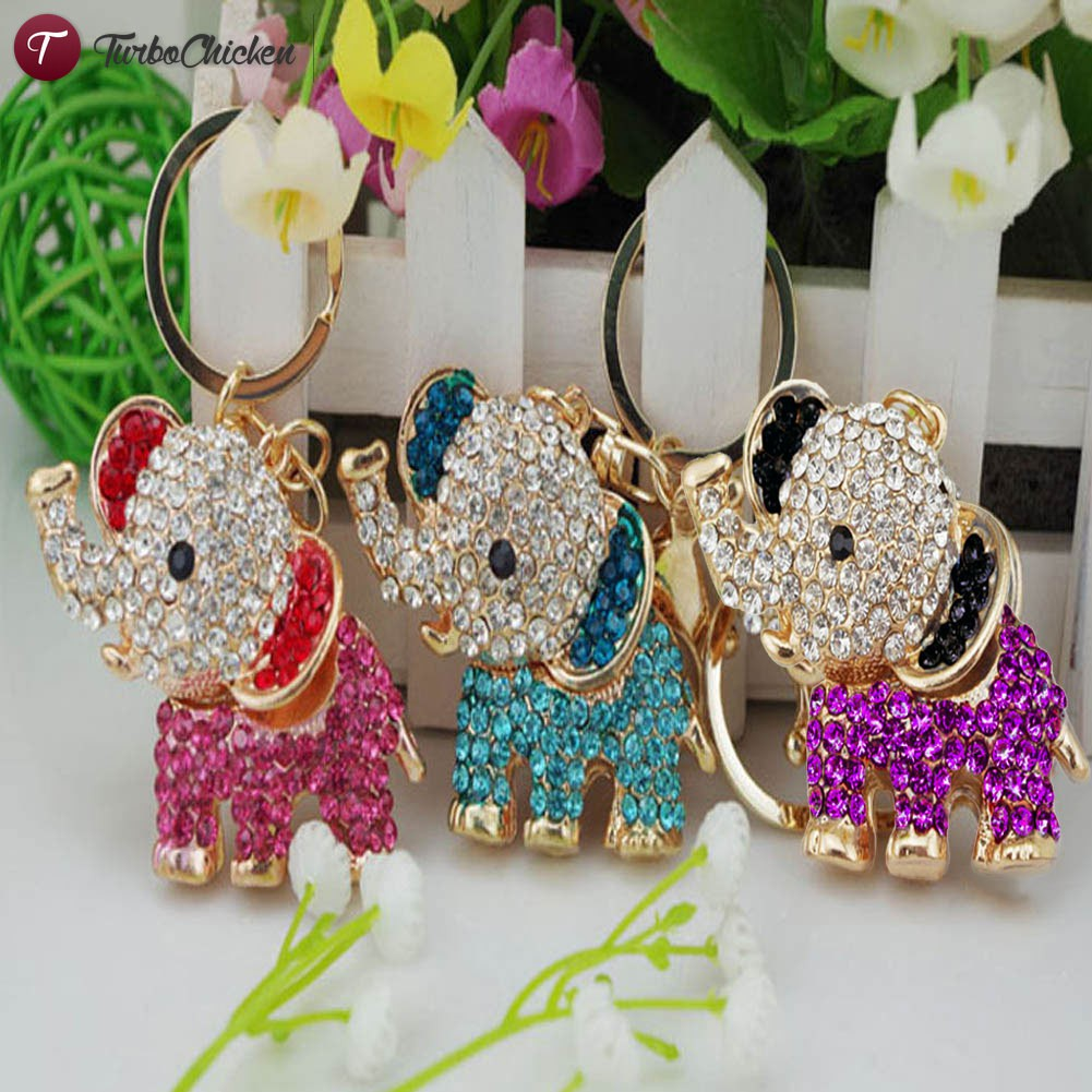 Đồ trang sức Fashion Accessories Crystal Lucky Elephant Keychain Car And Rhinestone Bag Buckle Gift Jewelry