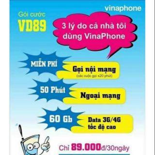 Sim Vinaphone VD89.miễn phí sử dụng tháng đầu tiên, tháng tiếp theo tự động gia hạn