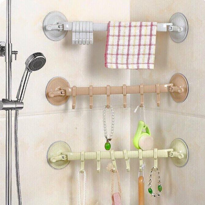 Thanh ngang 6 móc treo đồ nhà tắm hút chân không dễ dàng tháo lắp, Giá  tháng 1/2021