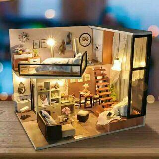 Kèm mica – Mô hình nhà gỗ búp bê dollhouse DIY – TD16 Home and dream