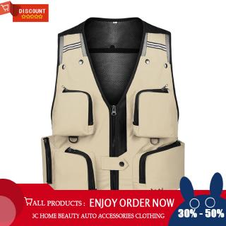 Men Waistcoat Outdoor Multi-pockets Photography Men Fishing Vest Mesh Male Vest Men Fishing Waistcoat Photography Clothing