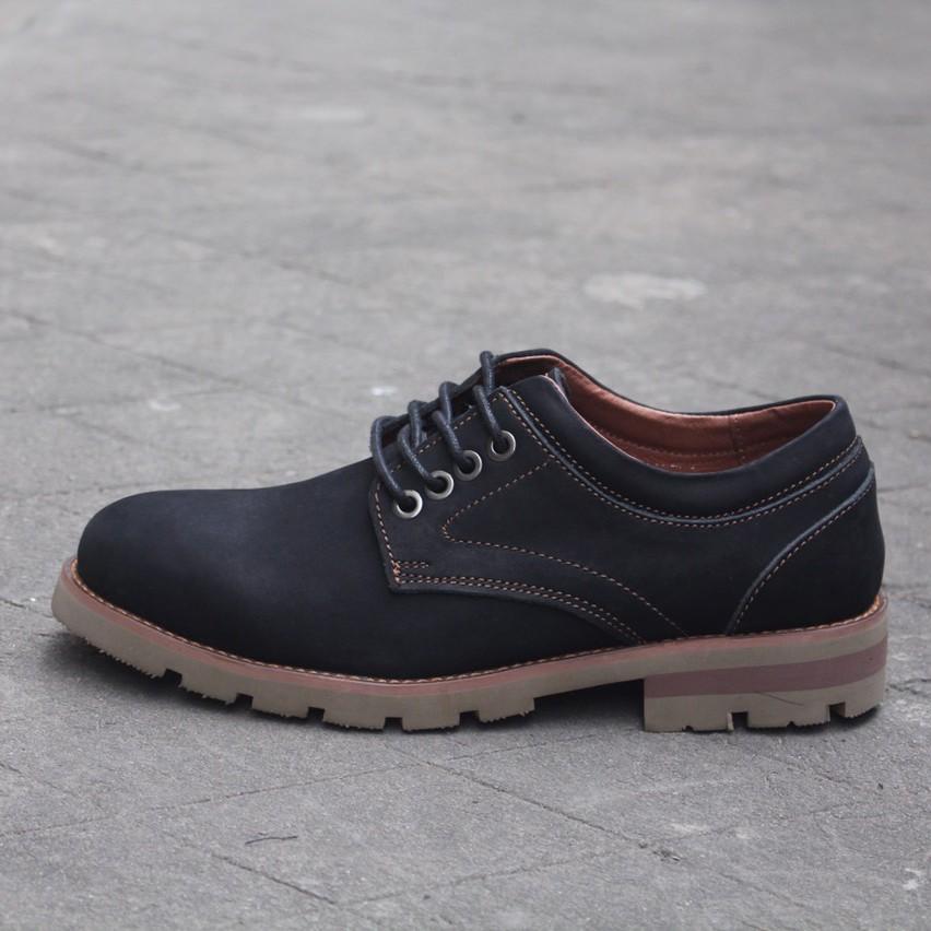 Giày nam cao cấp da bò thật Men622 đen sáp