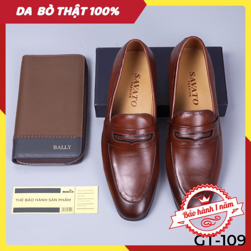 [FREESHIP - DA THẬT] -  Giày lười nam màu nâu da bò cao cấp - Giày tây công sở da thật - GT109