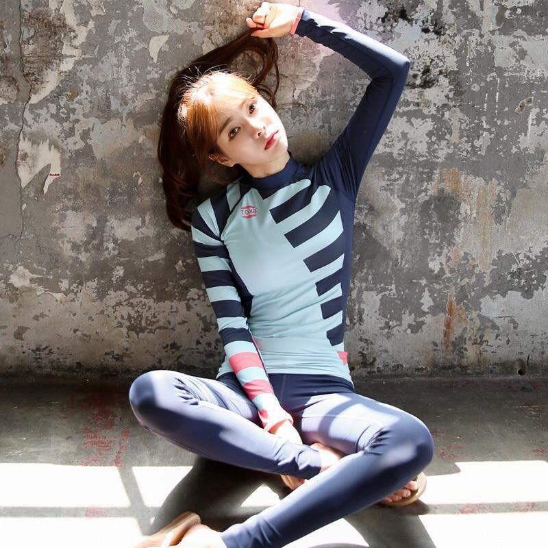 Bộ đồ bơi nữ dài tay, quần dài dành cho bạn gái màu xanh than mã L60