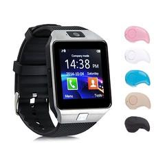 Đồng hồ thông minh SmartWatch DZ09 dùng SIM, THẺ NHỚ ( bạc ) tặng kèm tai nghe blutooth mini hạt đậu