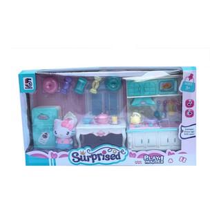 Bộ đồ chơi phòng ngủ + nhà bếp Hello Kitty dành cho trẻ