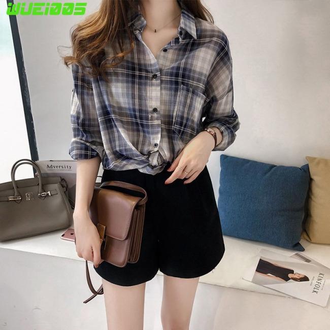 Women Summer Plaid Shirt Chic Fashion Style Long Sleeve Coat