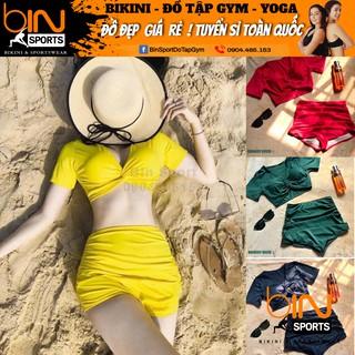 [Mã WAST99 hoàn 12k xu đơn 99k] Bikini Nữ 2 Mảnh Quần Đùi Cạp Cao Aó Crop Bin Sports BHV074