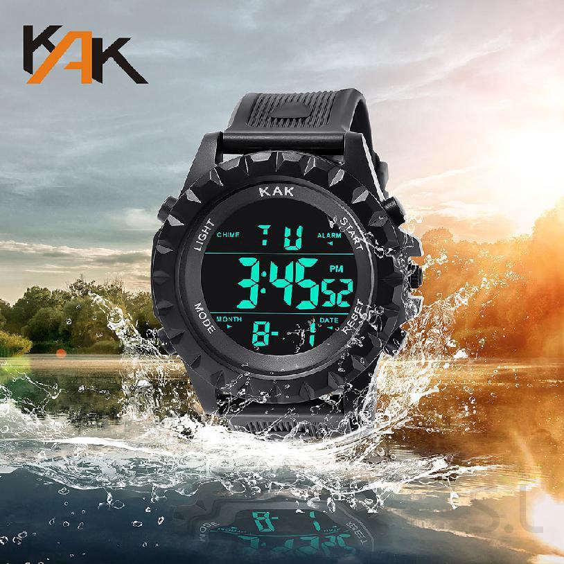 นาฬิกาข้อมือผู้ชายแบบอะนาล็อก LED ดิจิตอลอนาล็อกกีฬาคู่ควอตซ์ 634