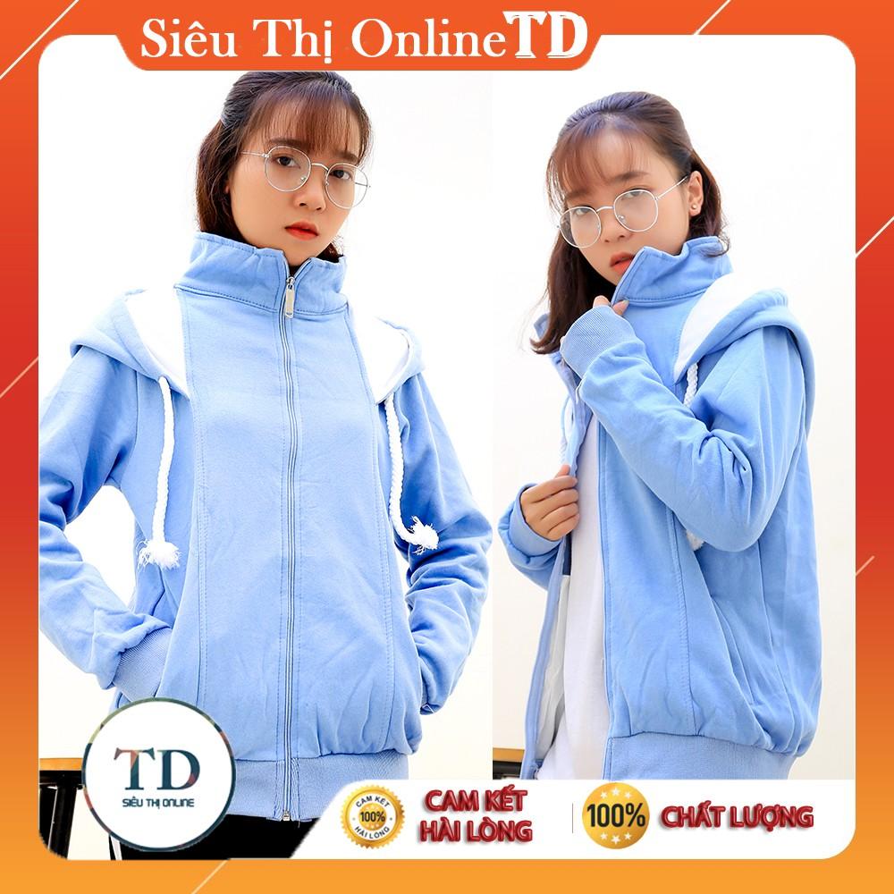 Áo khoác nữ màu xanh da trời có mũ rộng cá tính, áo khoác nữ chống nắng thời trang hàn quốc, áo khoác nữ da cá giá rẻ