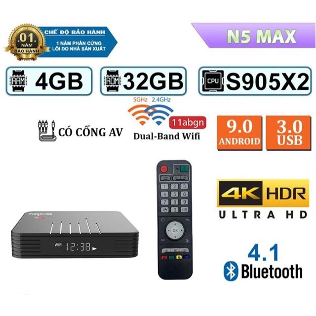 Androidtv box Magicsee N5 Max, ram 4gb, bộ nhớ 32gb, dual wifi, bluetooth