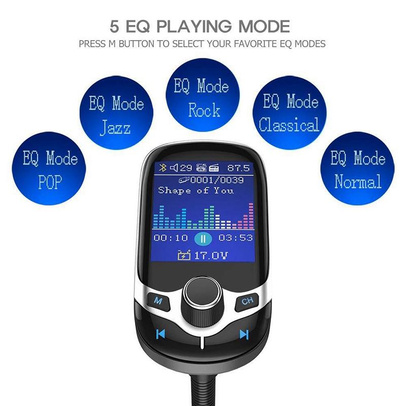 Máy Nghe Nhạc Mp3 Bluetooth Không Dây Sạc Nhanh Qc3.0 Cho Xe Hơi