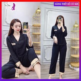 [Bộ Ngủ Lụa Dài Tay]-Pijama Chữ Ký Hot Trend , Hàng May Kỹ Có Túi Quần.