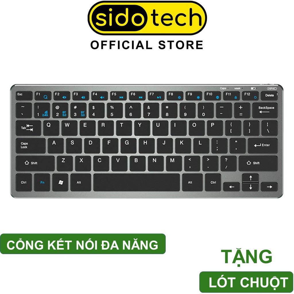 Bàn phím không dây bluetooth mini Sidotech V780 cho laptop macbook ipad điện thoại, sạc pin 1 lần dùng 30 ngày