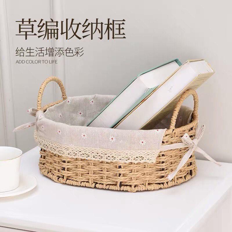 Giỏ mây lót vải CÓ QUAI vintage đựng đồ, giỏ đi picnic, để bàn decor đẹp mắt (Rổ cói lót vải)