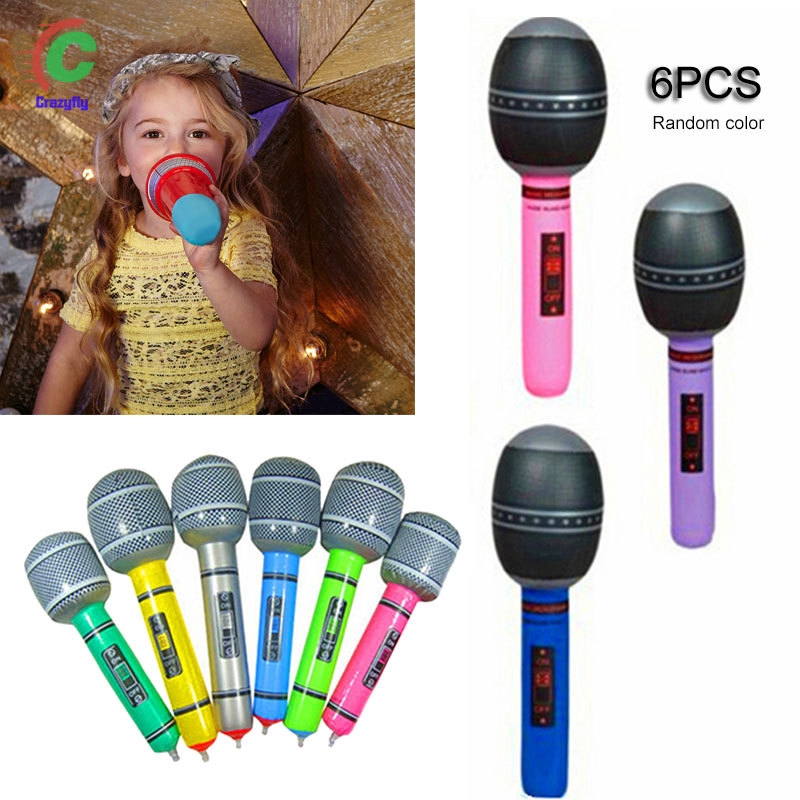 6 Pcs/Set Children Toy Inflatable Microphone PVC Singing Party Stage Simulation Rock Star Disco Kids Gift