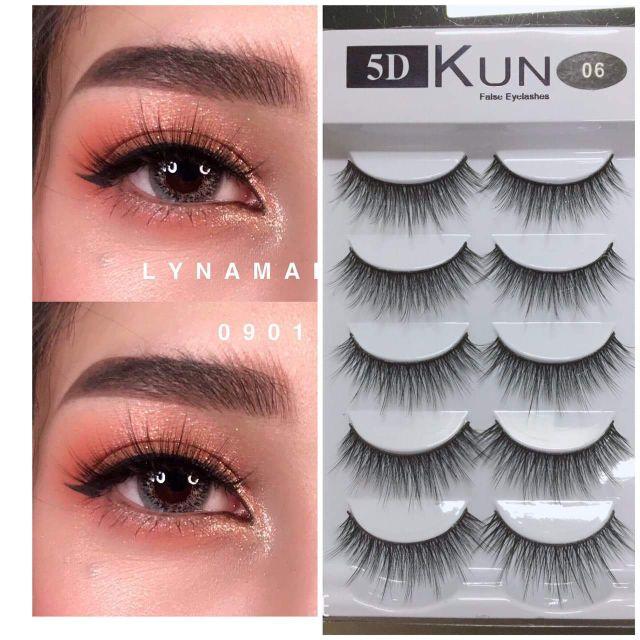 Lông mi Kun 5D 5 cặp cao cấp_Mi mắt giả
