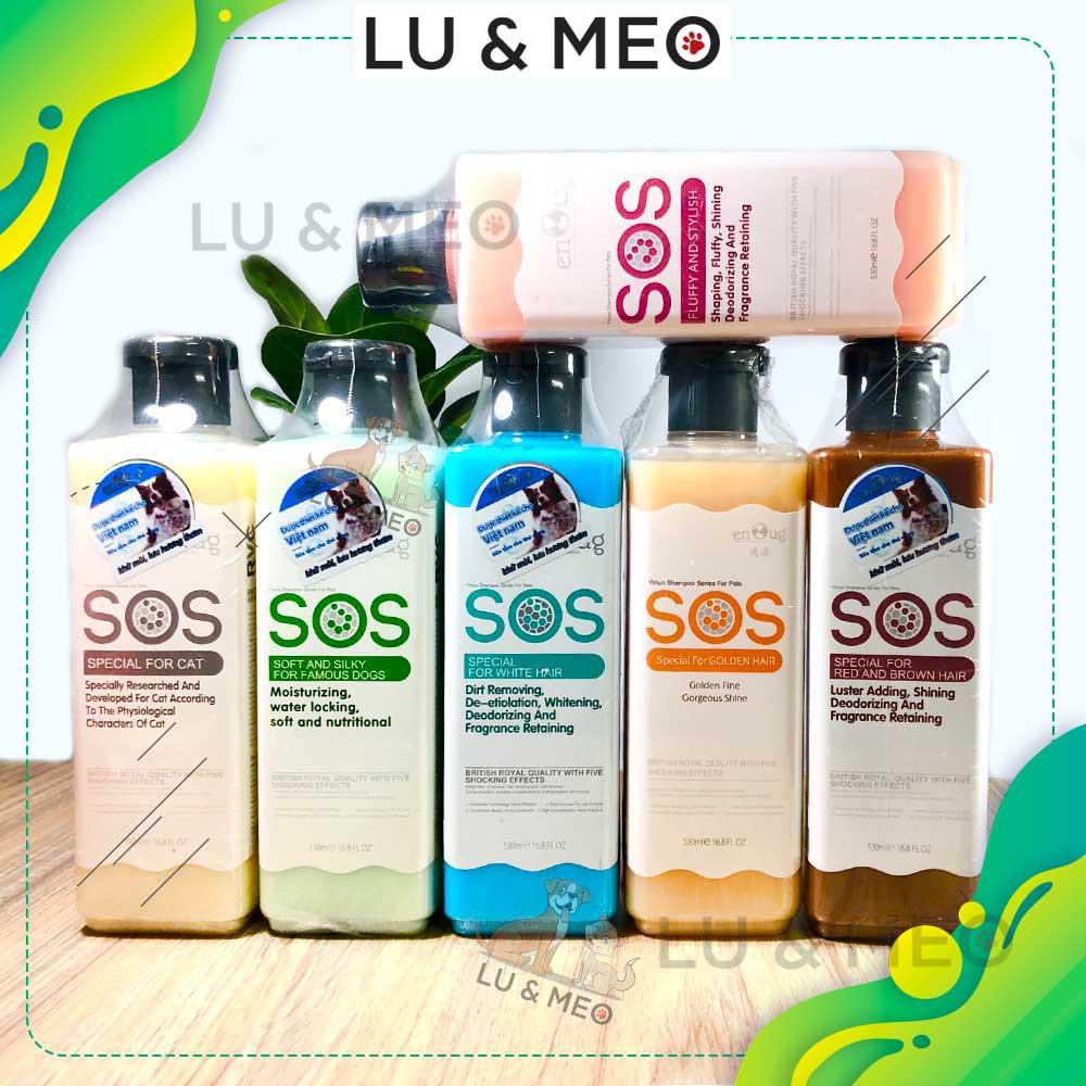 Sữa tắm khử mùi, lưu hương SOS cho chó mèo 530ML