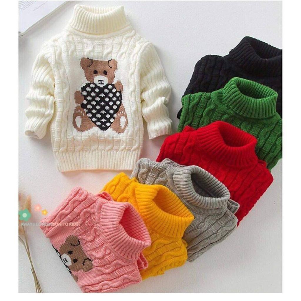 Áo len vặn thừng cổ cao Gấu cho bé trai và bé gái size 10-18kg