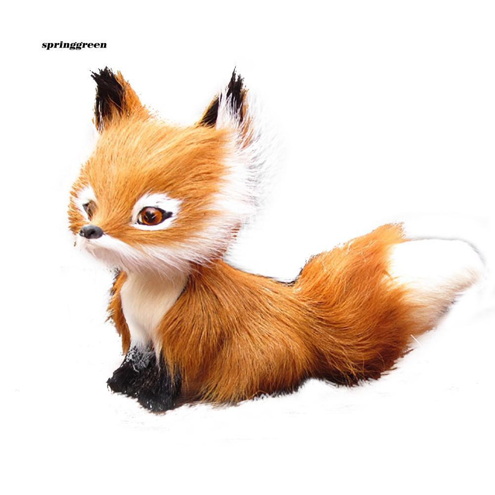 SPR♥Simulation Faux Fur Squatting Fox Model Ornament Toy Home Decor Birthday Gift