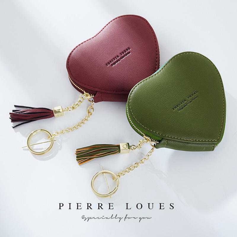 ใหม่เกาหลีน่ารักกระเป๋าเล็ก ๆ น้อย ๆ หัวใจพวงกุญแจกระเป๋าสตางค์สุภาพสตรี