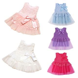 Đầm không tay phối ren đính nơ dễ thương cho bé