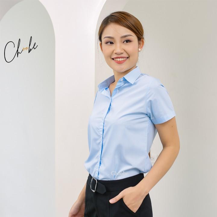 Áo sơ mi nữ Choobe ngắn tay dáng suông vải thoáng mát sơmi cộc tay công sở