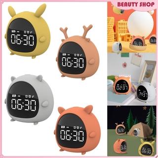 Cute LED Digital Alarm Clock with Snooze & Timer, Easy to Set, LED Display, 2 Alarm Sounds, USB Charger, Bedside Clock for Bedrooms, Study Room , Desk