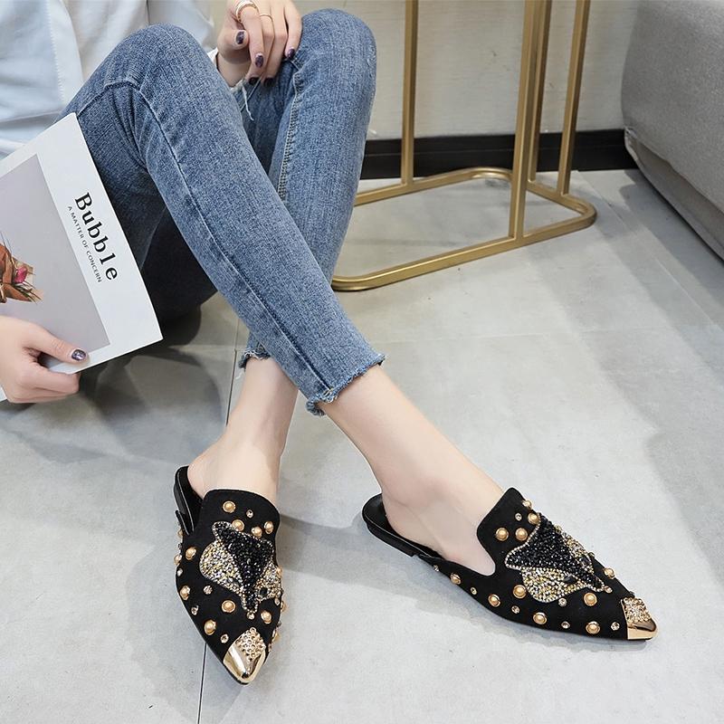 Giày Búp Bê Mũi Nhọn Thêu Hình Cáo Xinh Xắn