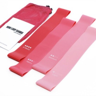 Combo 4 dây kháng lực minibands màu hồng, mini band
